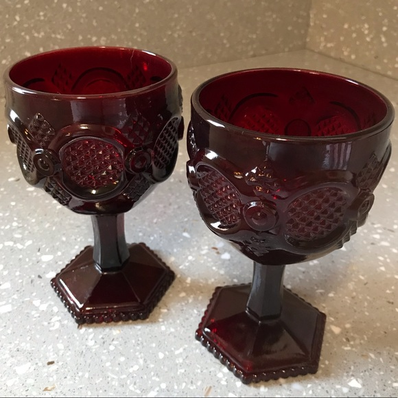 Set of 2 Avon 1876 Cape Cod Ruby Red Glass Champagne Saucers New